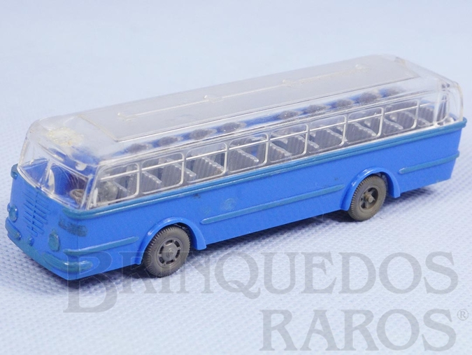 Brinquedo antigo Ônibus Bussing azul com teto transparente Década de 1960