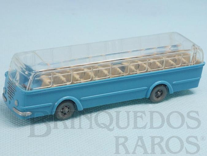 Brinquedo antigo Ônibus Bussing azul com teto transparente Década de 1950