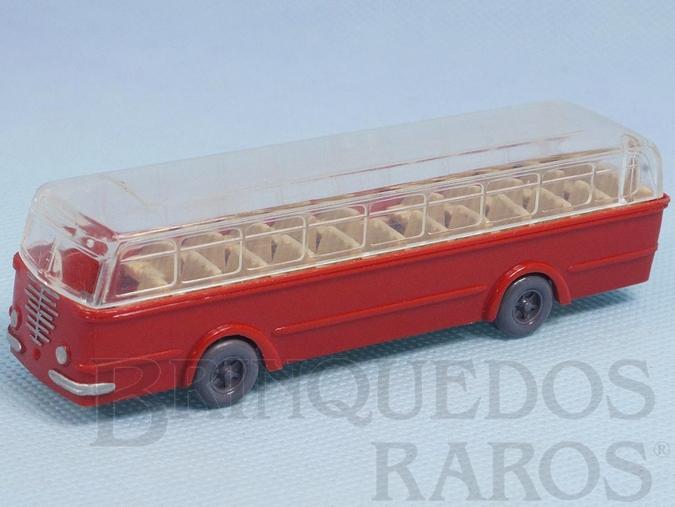 Brinquedo antigo Ônibus Bussing vermelho com teto transparente Década de 1950