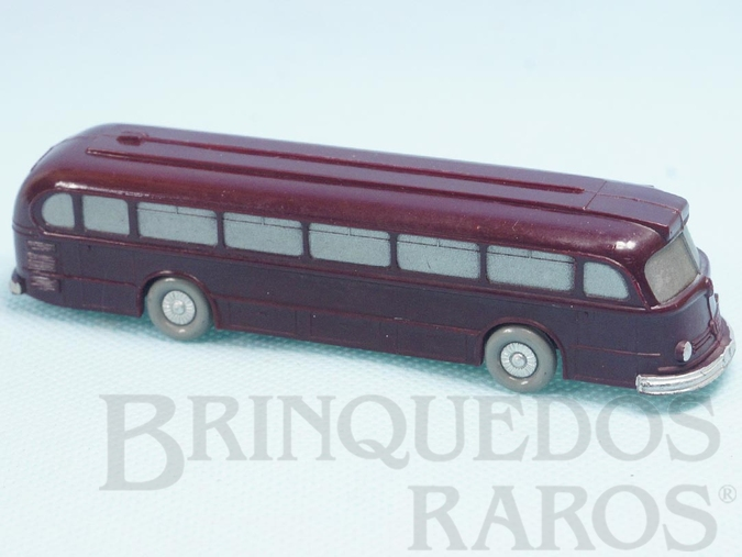 Brinquedo antigo Ônibus Mercedes Benz 6600 vermelho escuro com Janelas Sólidas pintadas Década de 1950