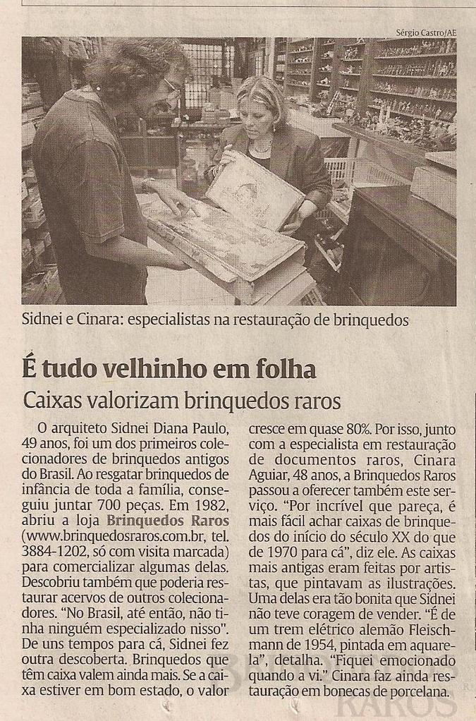 Brinquedo antigo Reportagem Jornal da Tarde Janeiro de 2004