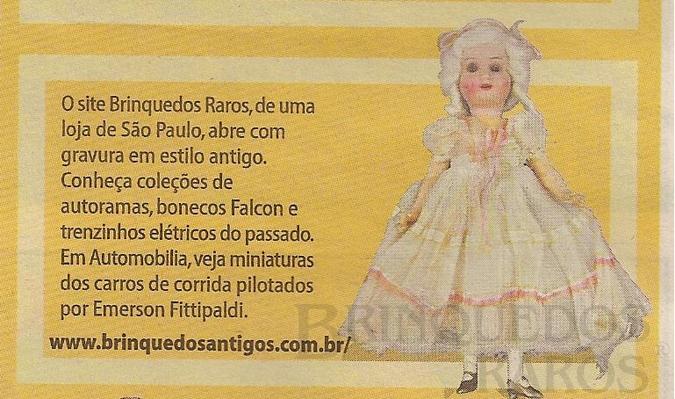 Brinquedo antigo Reportagem Caderno Folhinha Folha de São Paulo Maio de 2004