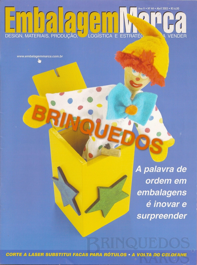 Brinquedo antigo Reportagem Revista Embalagem Marca Abril de 2003