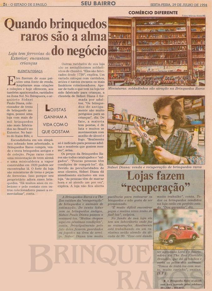 Brinquedo antigo Reportagem Caderno Seu Bairro Jornal O Estado de São Paulo Julho de 1994