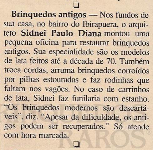 Brinquedo antigo Reportagem Revista Veja São Paulo Julho de 2002