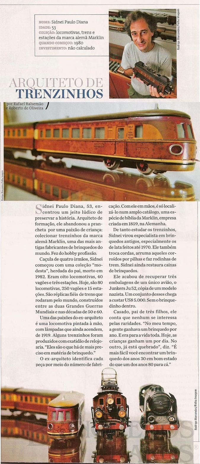 Brinquedo antigo Reportagem Caderno da Folha de São Paulo Maio de 2008