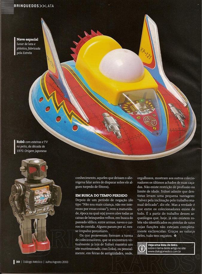 Brinquedo antigo Reportagem Revista Diálogo Médico Julho de 2003
