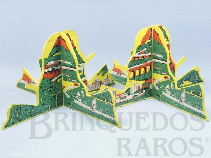 Brinquedo antigo Par de Montanhas Ornamento para pistas de Autorama HO Modelo Rallye com cenas da Serra da Via Anchieta Anos 1969 a 1973