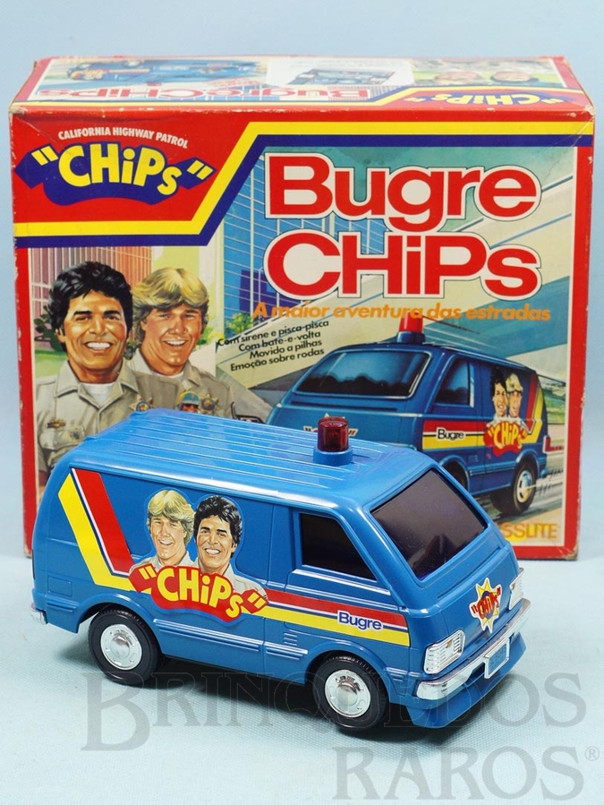 Brinquedo antigo Perua Bugre Chips com 21,00 cm de comprimento Sistema Bate e Volta Década de 1980