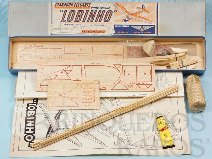Brinquedo antigo Planador Elegante Lobinho Ótimo Voador de madeira balsa entelada com 78,00 cm de envergadura 100% completo perfeito estado Década de 1960