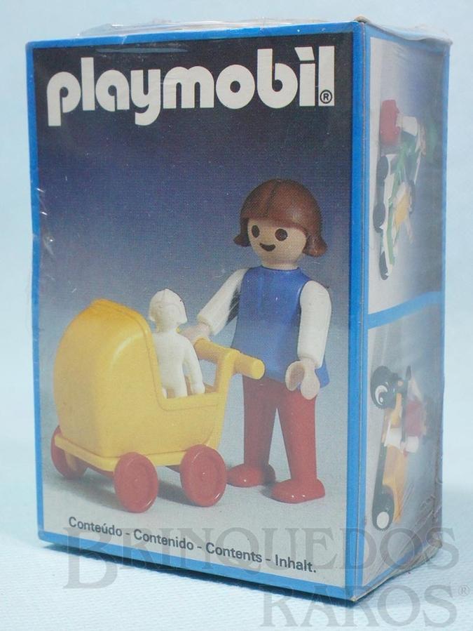 Brinquedo antigo Playmobil Menina com Carrinho de Bebe Caixa Lacrada  Década de 1980