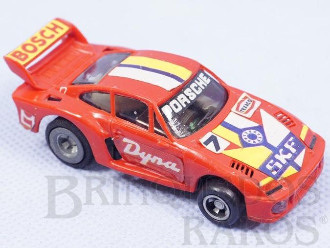 Brinquedo antigo Porsche Turbo TCR com luz no farol dianteiro Década de 1980