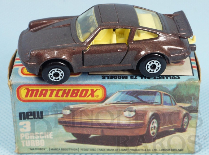 Brinquedo antigo Porsche Turbo Superfast marrom metálico