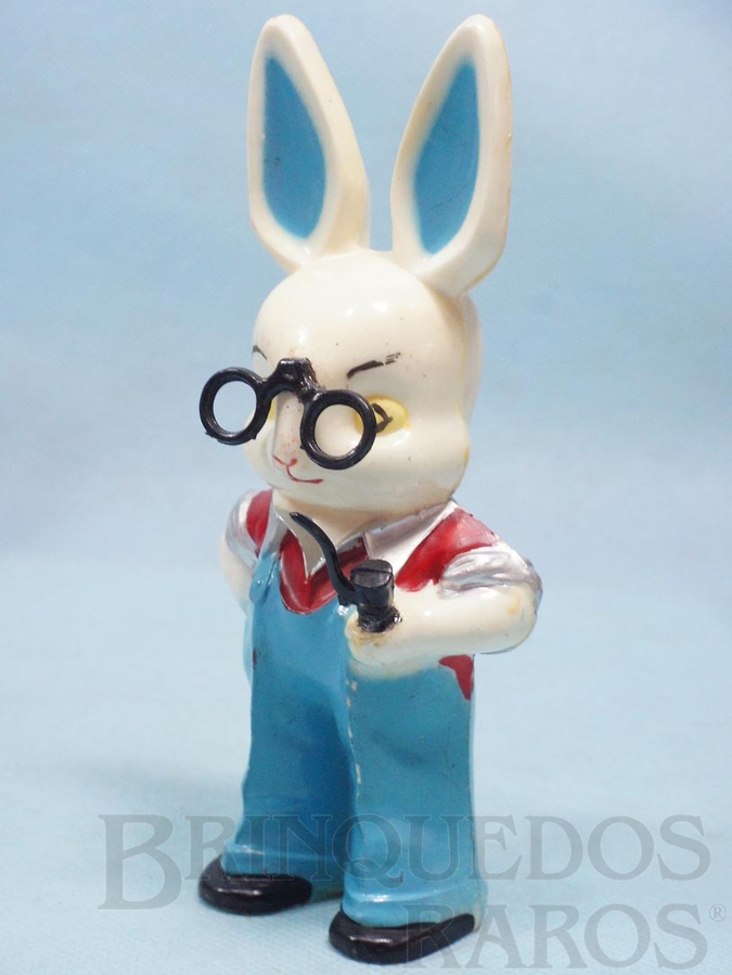 Brinquedo antigo Professor Coelho do Conjunto Escolinha do Professor Coelho com 16,00 cm de altura Década de 1960
