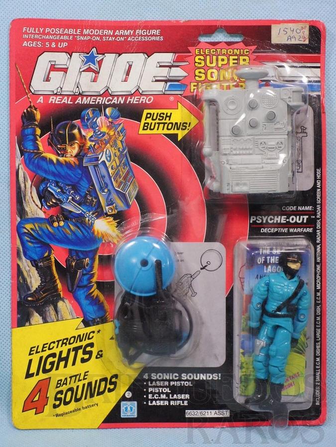 Brinquedo antigo Psyche Out completo Blister lacrado Série Eletronic Super Sonic Fighters Ano 1990