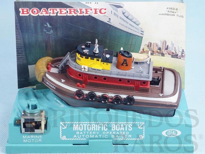 Brinquedo antigo Rebocador Atlas com 15,00 cm de comprimento Série Boaterific Década de 1960