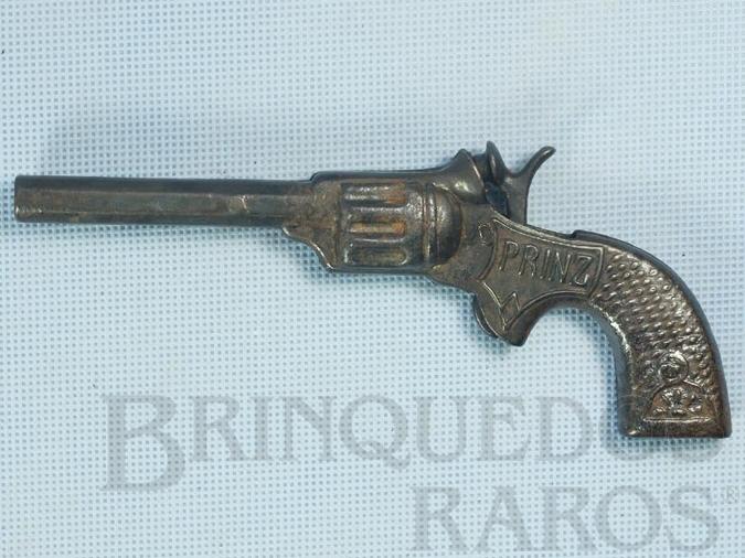 Brinquedo antigo Revolver Prinz de espoleta com 18,00 cm de comprimento Década de 1960