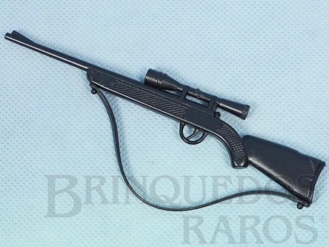 Brinquedo antigo Rifle preto Alça de Borracha Anos 1978 a 1981 1995 e 2000