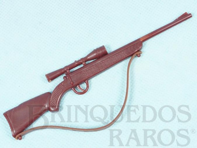 Brinquedo antigo Rifle marrom Aventura Safari na África Ano 1978