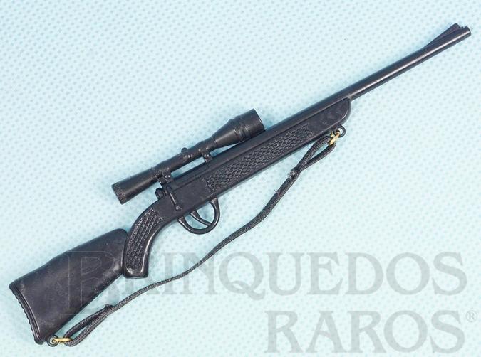 Brinquedo antigo Rifle preto Primeira Série Alça de elástico Ano 1977