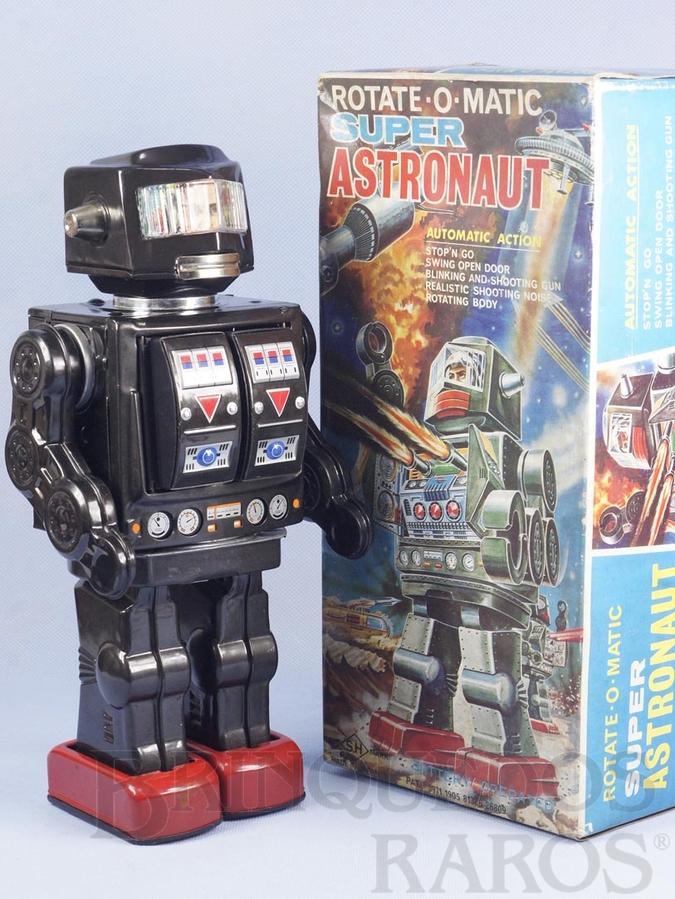Brinquedo antigo Robot com metralhadora no peito 29,00 cm de altura Rotate-O-Matic Super Astronaut rosto humano Década de 1960