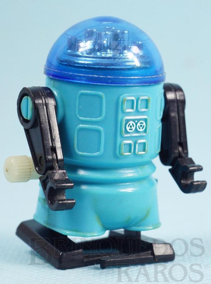 Brinquedo antigo Robozinho Roby Robot Trol azul com 5,00 cm de altura Década de 1980