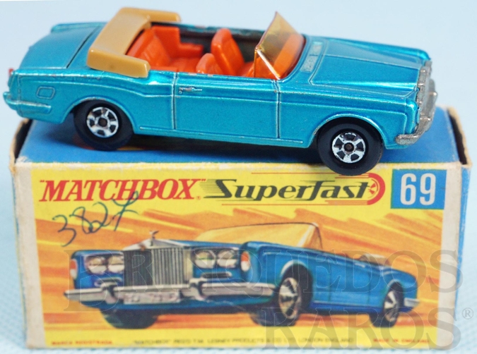 Brinquedo antigo Rolls Royce Silver Shadow Coupe azul metálico Superfast Transitional Weels