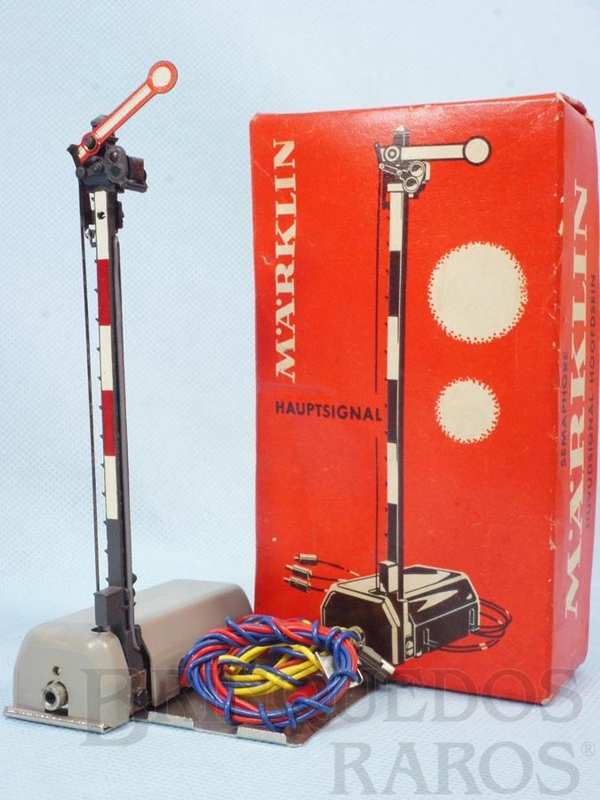Brinquedo antigo Sinaleiro simples Automático interrompe a linha e para o trem quando a luz estiver vermelha
