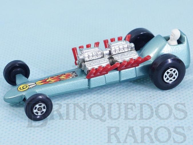 Brinquedo antigo Slingshot Dragster Superfast azul metálico