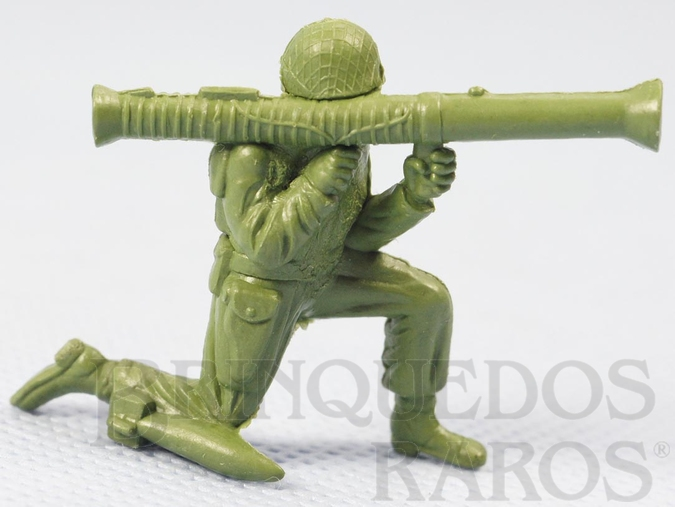 Brinquedo antigo Soldado americano com Bazooka Figura Matriz de soldado do Brinde Toddy Década de 1960