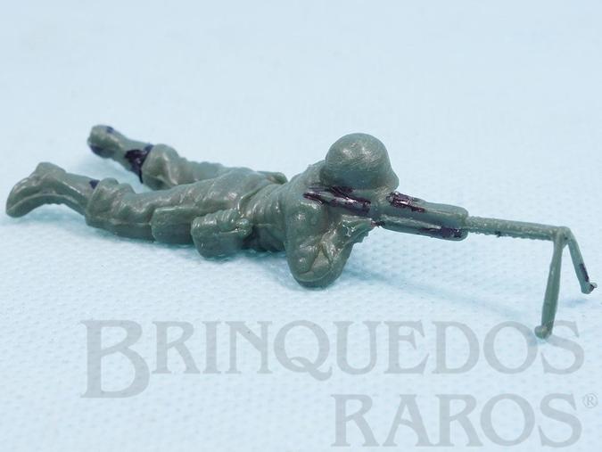 Brinquedo antigo Soldado com metralhadora Uniforme Brasileiro da Segunda Guerra Mundial Década de 1970