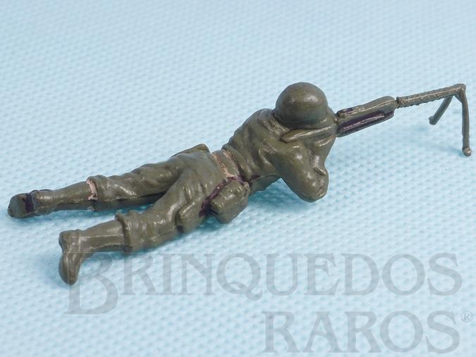 Brinquedo antigo Soldado com metralhadora Uniforme Americano da Segunda Guerra Mundial Década de 1970