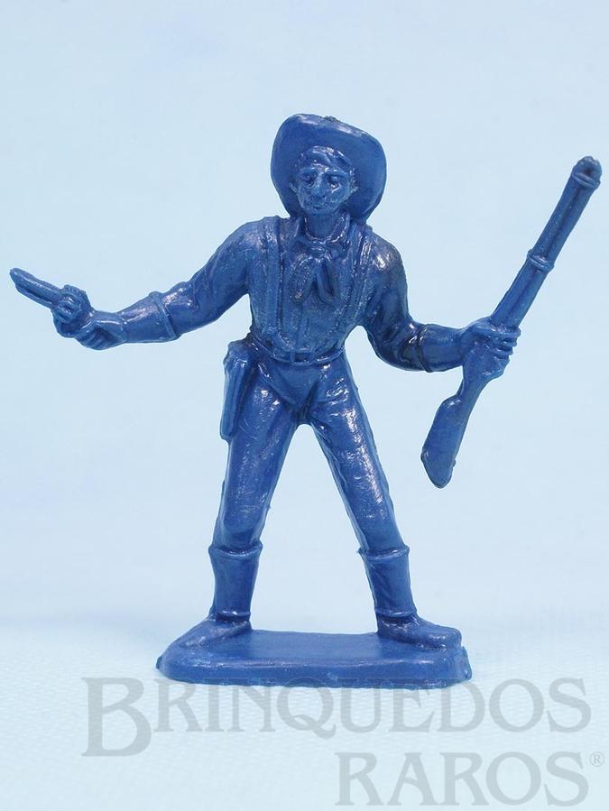 Brinquedo antigo Soldado da Sétima Cavalaria de pé com rifle e revolver Plástico azul Década de 1980