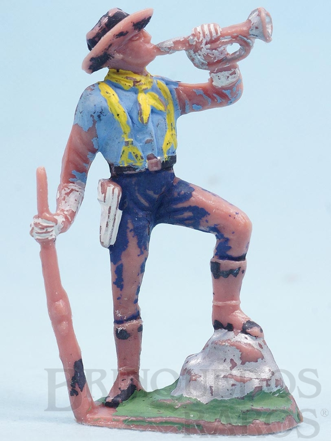 Brinquedo antigo Soldado da Sétima Cavalaria tocando Clarim Gulliver Década de 1960