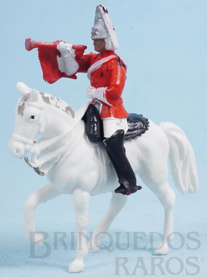 Brinquedo antigo Soldado Lifeguard a cavalo com Clarim Década de 1970