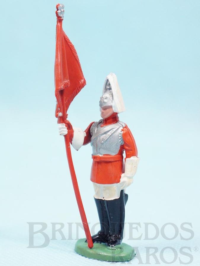 Brinquedo antigo Soldado Lifeguard a pé com Estandarte Década de 1970