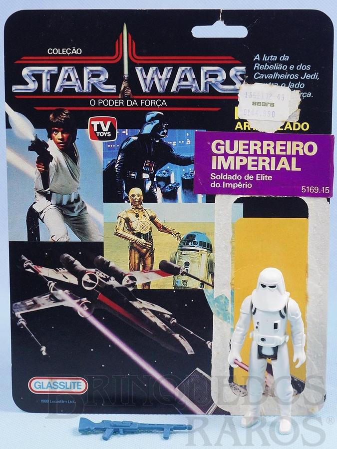 Brinquedo antigo Stormtrooper Guerreiro Imperial Star Wars Lucas Film perfeito estado completo com Arma acompanha Cartela original Década de 1980