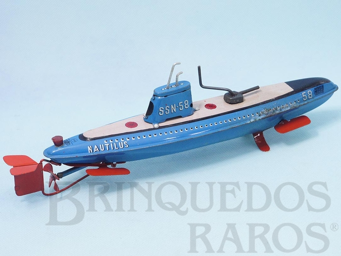Brinquedo antigo Submarino Nautilus com 32,00 cm de comprimento Década de 1960