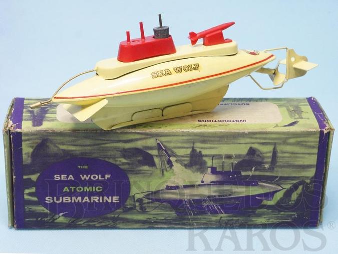 Brinquedo antigo Submarino Sea Wolf Atomic Submarine com 24,00 cm de comprimento Década de 1960