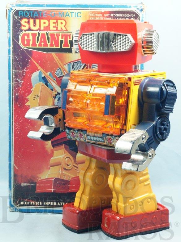 Brinquedo antigo Super Giant Robot Rotate-O-Matic com  42,00 cm de altura Década de 1970