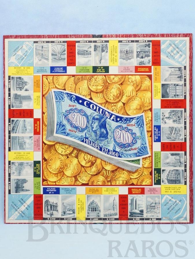 Brinquedo antigo Tabuleiro do Jogo Milhões em Jogo versão do Banco Imobiliário Década de 1960