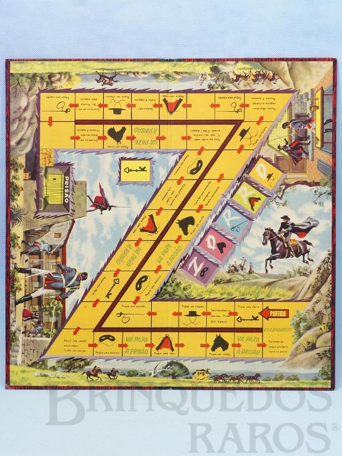 Brinquedo antigo Tabuleiro do Jogo Zorro Walt Disney Década de 1960