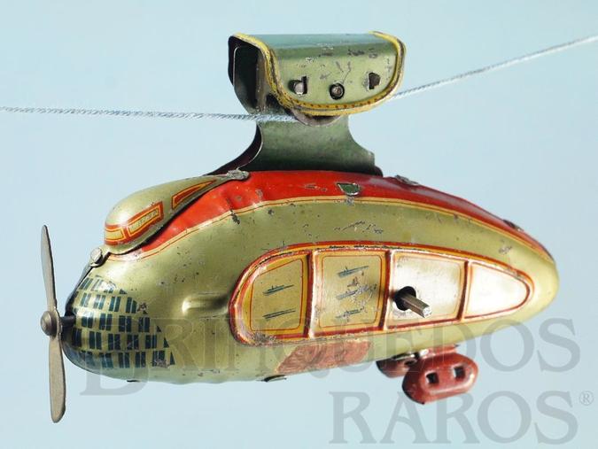 Brinquedo antigo Teleférico Futurista com 12,00 cm de comprimento Move a hélice e se movimenta através de um cabo Década de 1930