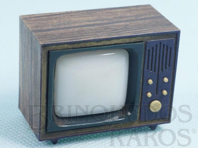 Brinquedo antigo Televisão com Visor na parte de trás apresenta paisagens de Brasília que se alternam 4,5 cm de altura Década de 1970