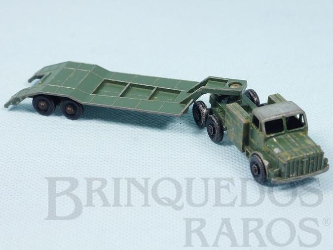 Brinquedo antigo Thornycroft Antar and Sankey 50 Ton Tank Transporter Série Major packs Black Plastic Regular Wheels