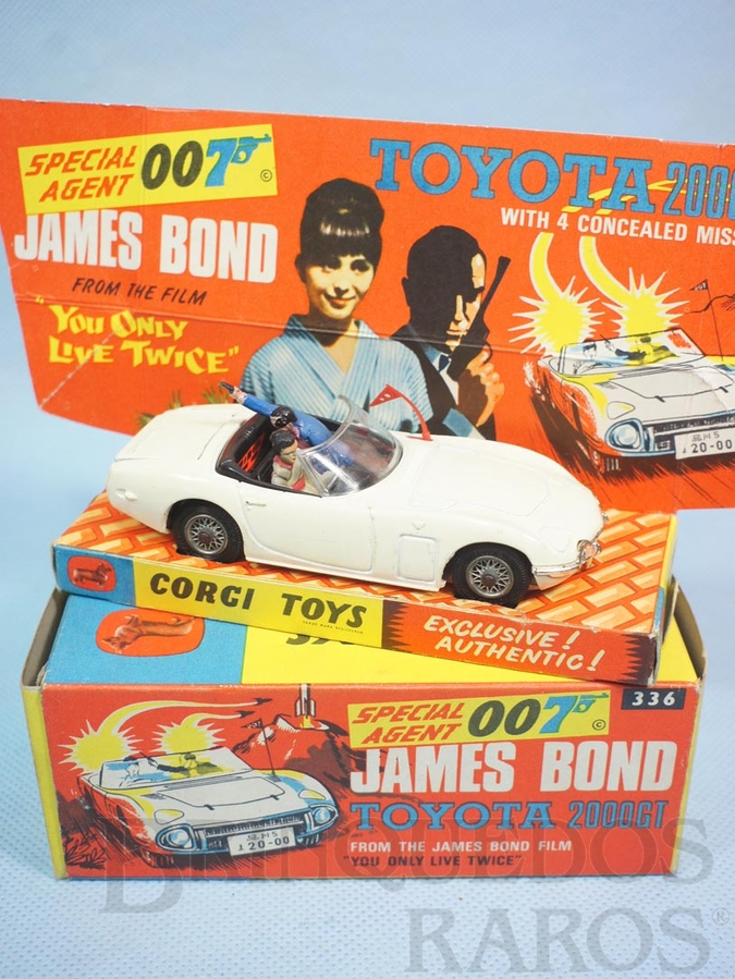 Brinquedo antigo Toyota 2000GT conversível 007 James Bond Completo 100% original Década de 1970