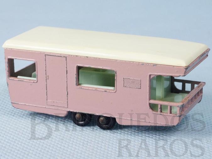 Brinquedo antigo Trailer Caravan black plastic Regular Wheels rosa