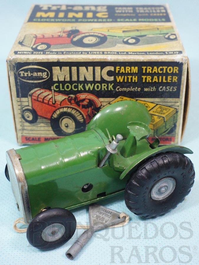 Brinquedo antigo Trator agrícola com 9,00 cm de comprimento Farm Tractor Minic Década de 1950