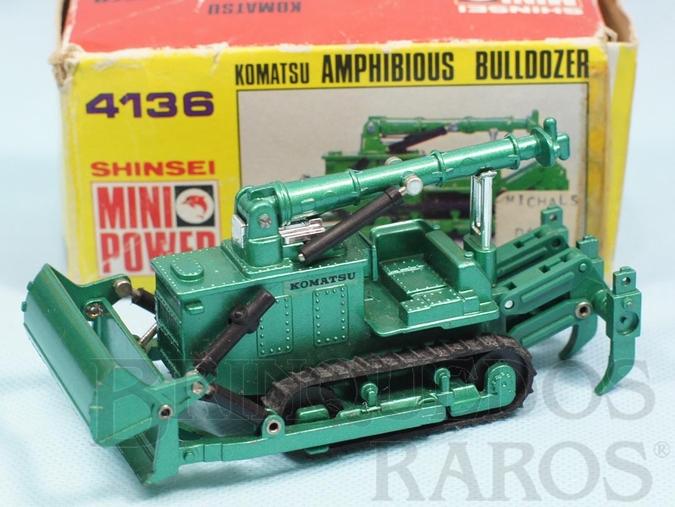 Brinquedo antigo Trator Anfíbio Komatsu Amphibious Bulldozer com 13,00 cm de comprimento Série Mini Power Década de 1980