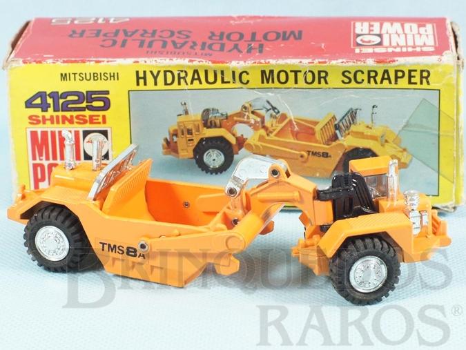 Brinquedo antigo Trator Mitsubishi Hydraulic Motor Scraper com 14,00 cm de comprimento Série Mini Power Década de 1980